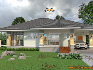 บ้านพักอาศัยชั้นเดียว สไตล์ทรอปิคอล แบบบ้านออกแบบบ้านเชียงใหม่ บ้านสำหรับครอบครัว คอนกรีต Grey
