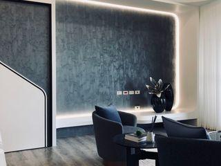 圓弧修邊與流線型的新莊住宅 On Designlab.ltd 现代客厅設計點子、靈感 & 圖片