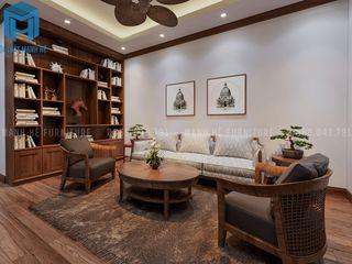 THIẾT KẾ NỘI THẤT TRỌN GÓI CĂN HỘ CHUNG CƯ COSMO CITY 50M2 CỦA ANH SINH Ở QUẬN 7 Công ty Cổ Phần Nội Thất Mạnh Hệ Phòng khách Wood effect