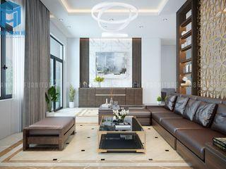 THIẾT KẾ NỘI THẤT TRỌN GÓI CĂN BIỆT THỰ MINI 3 PHÒNG NGỦ CỦA ANH THÁI Ở BÌNH DƯƠNG Công ty Cổ Phần Nội Thất Mạnh Hệ Phòng khách Wood effect