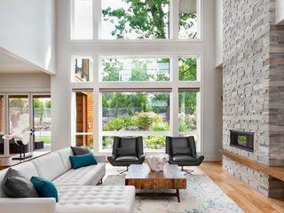 Modern living room STAAC Moderne Wohnzimmer Ziegel Grau