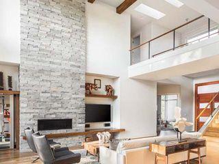 Modern living room STAAC Moderne Wohnzimmer Ziegel Weiß