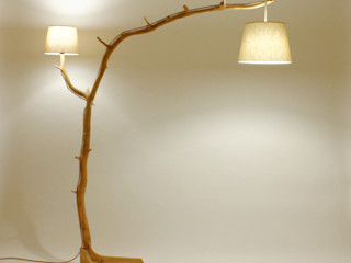 Floor lamp, lamp of weathered old Oak branch Meble Autorskie Jurkowski Living roomLighting Wood Beige