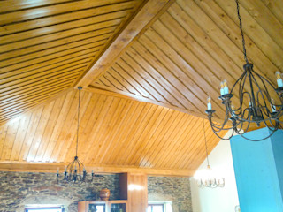 Home Recover Rustic style dining room Wood effect