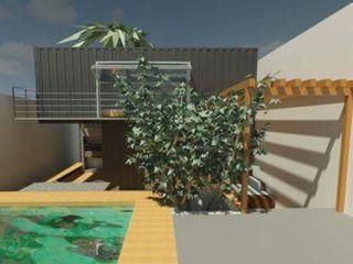Construção com Conteiner Oria Arquitetura & Construções Casas pré-fabricadas Ferro/Aço Metalizado/Prateado