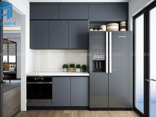 THIẾT KẾ NỘI THẤT CĂN HỘ SAIGON PENTAVIEW 60M2 CỦA ANH NGUYỄN_QUẬN BÌNH THẠNH Công ty Cổ Phần Nội Thất Mạnh Hệ Nhà bếp phong cách hiện đại Grey
