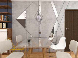 Dining Area Accent Wall Structura Architects Modern dining room Copper/Bronze/Brass Grey