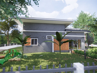 บ้านพักตากอากาศ แบบบ้านออกแบบบ้านเชียงใหม่ บ้านสำหรับครอบครัว คอนกรีต Grey