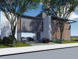 Casa Moderna - Alphaville Jacuhy ARUS Associados Ltda. Casas modernas Ferro/Aço Multi colorido