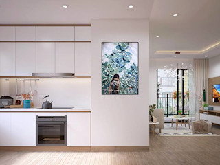 THIẾT KẾ NỘI THẤT CĂN HỘ CHUNG CƯ 2 PHÒNG NGỦ VINHOME CENTRAL PARK_CHỊ THANH Ở BÌNH THẠNH Công ty Cổ Phần Nội Thất Mạnh Hệ Nhà bếp phong cách hiện đại White