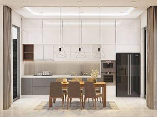THIẾT KẾ NỘI THẤT NHÀ PHỐ 3 PHÒNG NGỦ_ANH HƯỚNG Ở QUẬN 10 Công ty Cổ Phần Nội Thất Mạnh Hệ Nhà bếp phong cách hiện đại White