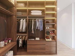 THIẾT KẾ NỘI THẤT CĂN HỘ CHUNG CƯ THE PARK RESIDENCE-ANH KHÁNH Ở NHÀ BÈ Công ty Cổ Phần Nội Thất Mạnh Hệ Phòng thay đồ phong cách hiện đại Wood effect