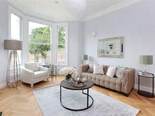 Design and Build London Renovation Modern living room Concrete White