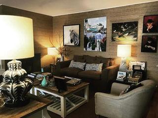 Gavetão- Decoração de Interiores Ruang Keluarga Gaya Eklektik Kayu Brown