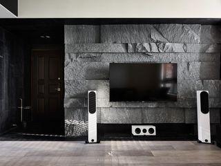 框.無框 Cubic Cave 理絲室內設計有限公司 Ris Interior Design Co., Ltd. 现代客厅設計點子、靈感 & 圖片 石板 Grey