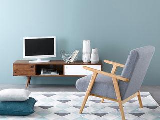 Decordesign Interiores ВітальняПідставки для телевізорів та шафи Інженерне дерево Білий
