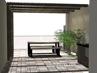 Minimalistika.com Balcon, Veranda & Terrasse minimalistes Bois massif Effet bois