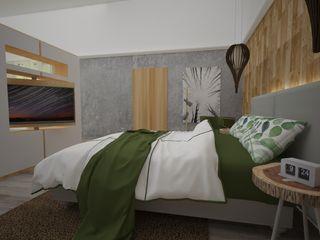 Armo Dezain Rustic style bedroom Wood-Plastic Composite Grey