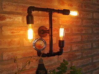 Decoración Lámpara Estilo Industrial Hierro Manómetro Reutilizado Focos Vintage Lamparas Vintage Vieja Eddie LivingsIluminación Hierro/Acero Negro