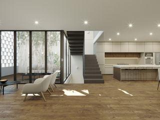 TW/A Architectural Group SalonKanapy i fotele Drewno Biały