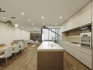 TW/A Architectural Group KuchniaStoły i krzesła Marmur Biały