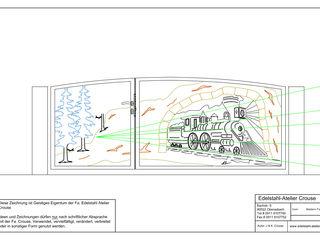 "Die Geburt eines Edelstahltores im ""Western Bergzug"" Design. Edelstahl Atelier Crouse:"