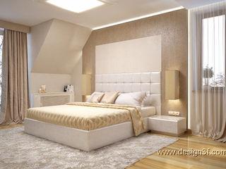 студия Design3F Chambre minimaliste Argent/Or Beige