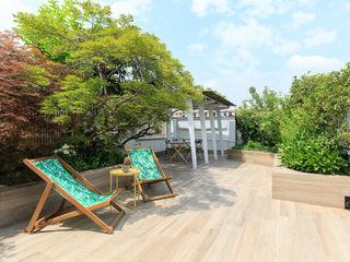 Fabio Carria Modern balcony, veranda & terrace Tiles Wood effect