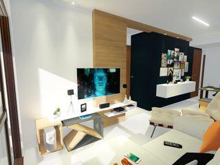 Arquitetura Sônia Beltrão & associados Moderne Wohnzimmer Holz Blau