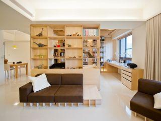 直方設計有限公司 Soggiorno in stile scandinavo Effetto legno