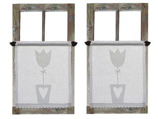Drewniany Guzik Janelas e portasCortinas e cortinados Linho Branco