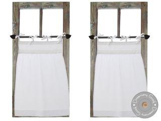 Drewniany Guzik Janelas e portasCortinas e cortinados Algodão Branco