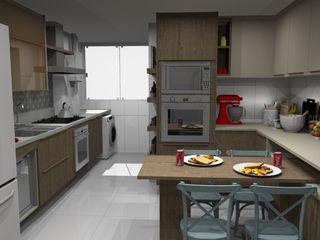 Ana Adriano Design de Interiores Кухонные блоки МДФ Эффект древесины