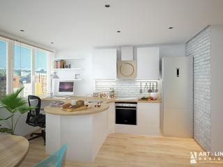 Art-line Design Cocinas de estilo escandinavo Blanco