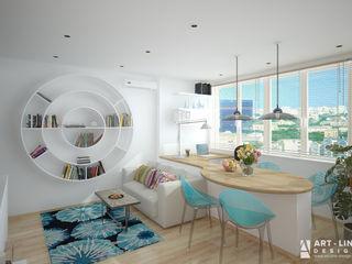 Art-line Design Salas de estilo escandinavo Blanco