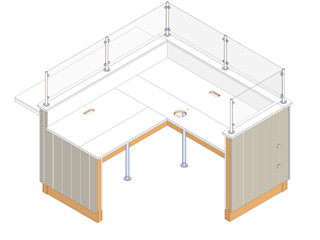 Cubicle Wood Counter for Workplace Hitech CADD Services Commercial Spaces