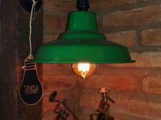 Lampara Galponera Verde De Pared Deco Bailarines Tango Reclaimed Hierro Lamparas Vintage Vieja Eddie Paisajismo de interiores Hierro/Acero Verde