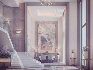 Entrance Hallway in Contemporary Interior Design Ideas IONS DESIGN Modern corridor, hallway & stairs Wood Multicolored