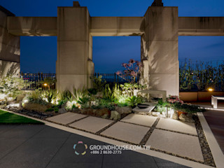 植物在燈光照射下也有另一種美感 大地工房景觀公司 露臺