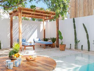 Hipercubo Arquitectura Ruang Makan Gaya Mediteran Beton White
