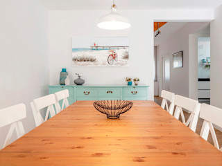 Moradia Miramar - Decoração de Interiores MOYO Concept Salas de jantar mediterrânicas Derivados de madeira Turquesa
