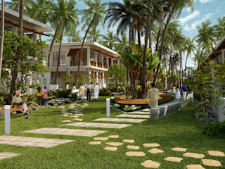PhotoRealistic Architectural Rendering Services Los Angeles, California, USA JMSD Consultant - 3D Architectural Visualization Studio Bungalows Glass White