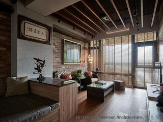 Hi+Design/Interior.Architecture. 寰邑空間設計 Гостиная в стиле лофт Кирпичи Эффект древесины