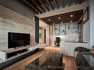 Hi+Design/Interior.Architecture. 寰邑空間設計 Гостиная в стиле лофт Дерево Эффект древесины