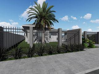 Proposta para fechamento de terreno e paisagismo em Catuípe-RS Cláudia Legonde Casas familiares Pedra Cinza