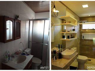 Antes e depois deste banheiro social. Cláudia Legonde