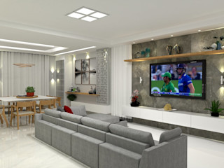 Laene Carvalho Arquitetura e Interiores 现代客厅設計點子、靈感 & 圖片 Grey