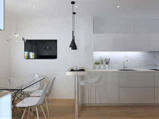 Una gran cocina para disfrutar del día a día SANTOS VAGUADA CocinaMesas, sillas y bancos Blanco
