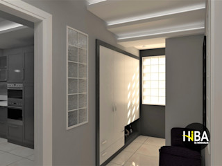 Hiba iç mimarik Modern Corridor, Hallway and Staircase Grey