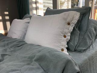 NatureBed Yatak OdasıTekstil Ürünleri Keten Beyaz